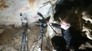 Marta Díaz-Guardamino and Paul Pettitt recording Palaeolithic art in El Castillo Cave, Spain