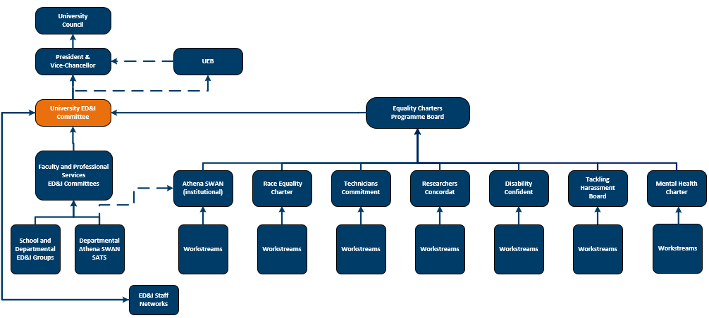 diagram showing EDI Governance in the style of a flow chart