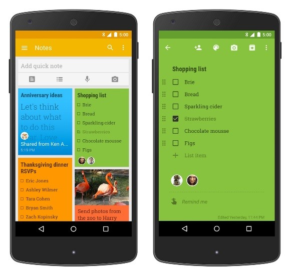 Screenshot of Google keep app.
