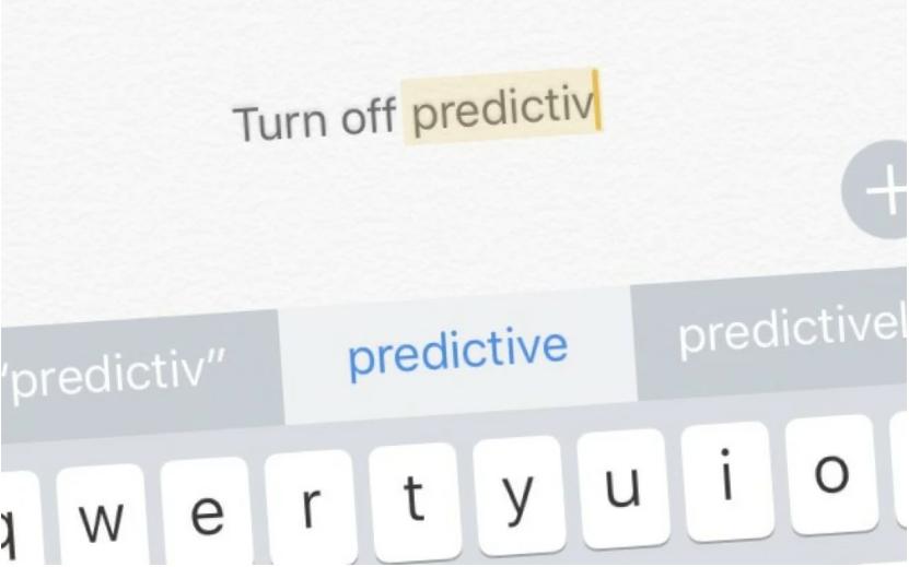 Screenshot showing predictive text