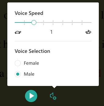 Screenshot of Speak text-to-speech feature.
