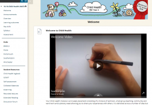 Screenshot from Child Health Blackboard site welcome page