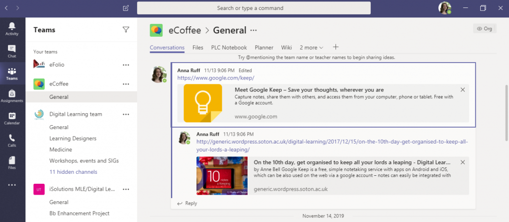 Screenshot of eCoffee team on Microsoft Teams