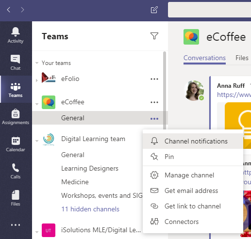 Screenshot showing menu for channel settings in Microsoft Teams