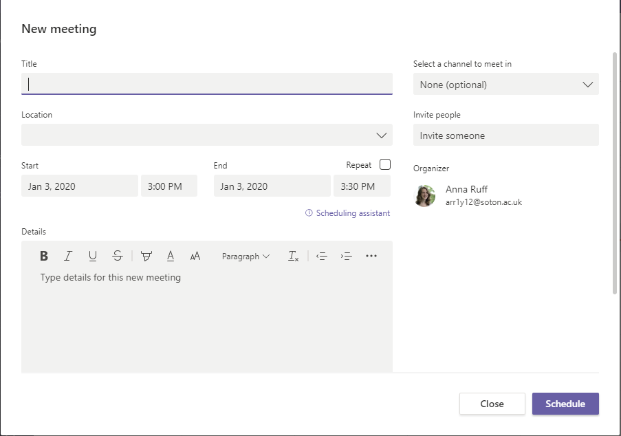 Screenshot showing new meeting screen in Microsoft Teams