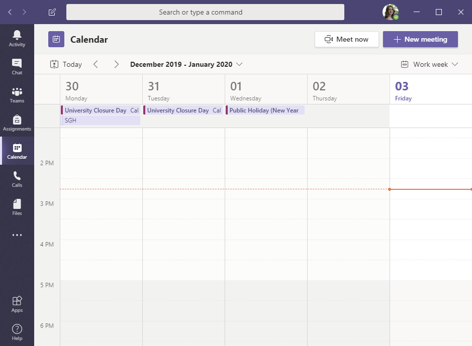 Screenshot showing Calendar view in Microsoft Teams
