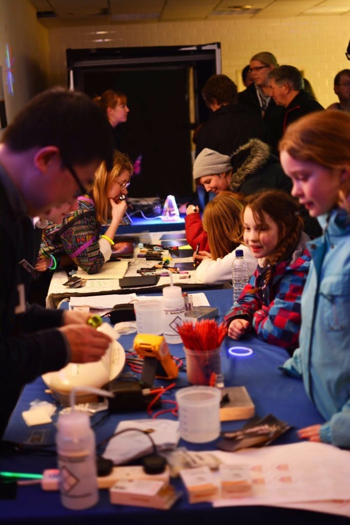 children watch as their fingerprints are coated with real gold by electrodeposition, one of our electrochemistry activities