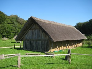 Reconstructed Neolithic House at the Naturerlebnisraum Archäologisch-Ökologisches Zentrum (Albersdorf, Germany). Houses like this were typical of the Neolithic, the period were many European ditched enclosures were built.
