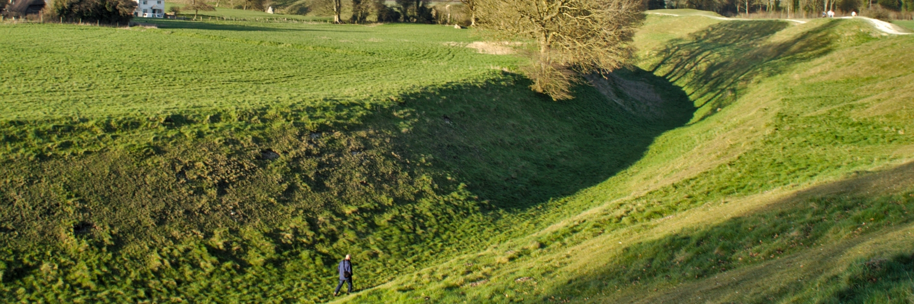 Photo of Ditch at the Avebury henge (Wiltshire, United Kingdom), an outsanding example of the otherwise widely spread Neolithic ditches