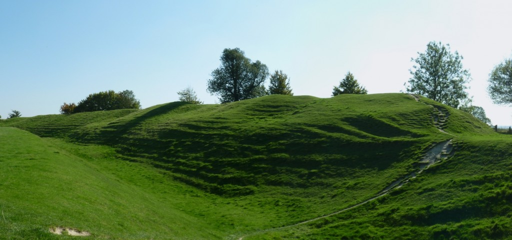 Avebury Neolithic banks as seen from the inner area (Wiltshire, United Kingdom).