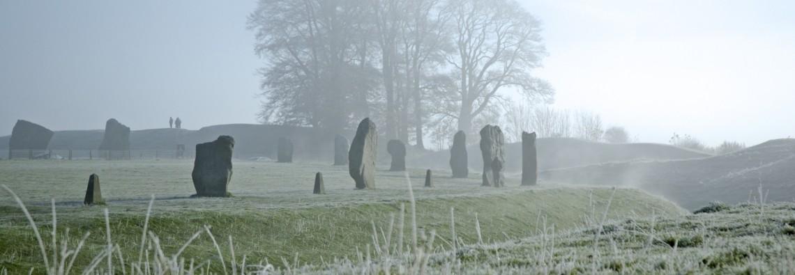Photo of a frosty morning at Avebury henge