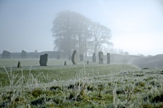 Photo of a frosty morning at Avebury henge
