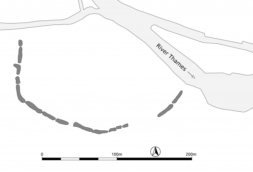 Drawing of the Buckland Neolithic causewayed enclosure (Oxfordshire, United Kingdom). An example of Neolithic ditched enclosure.