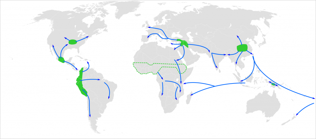 Map of the world showing approximate centres of origin of agriculture (the Neolithic) and its spread in prehistory