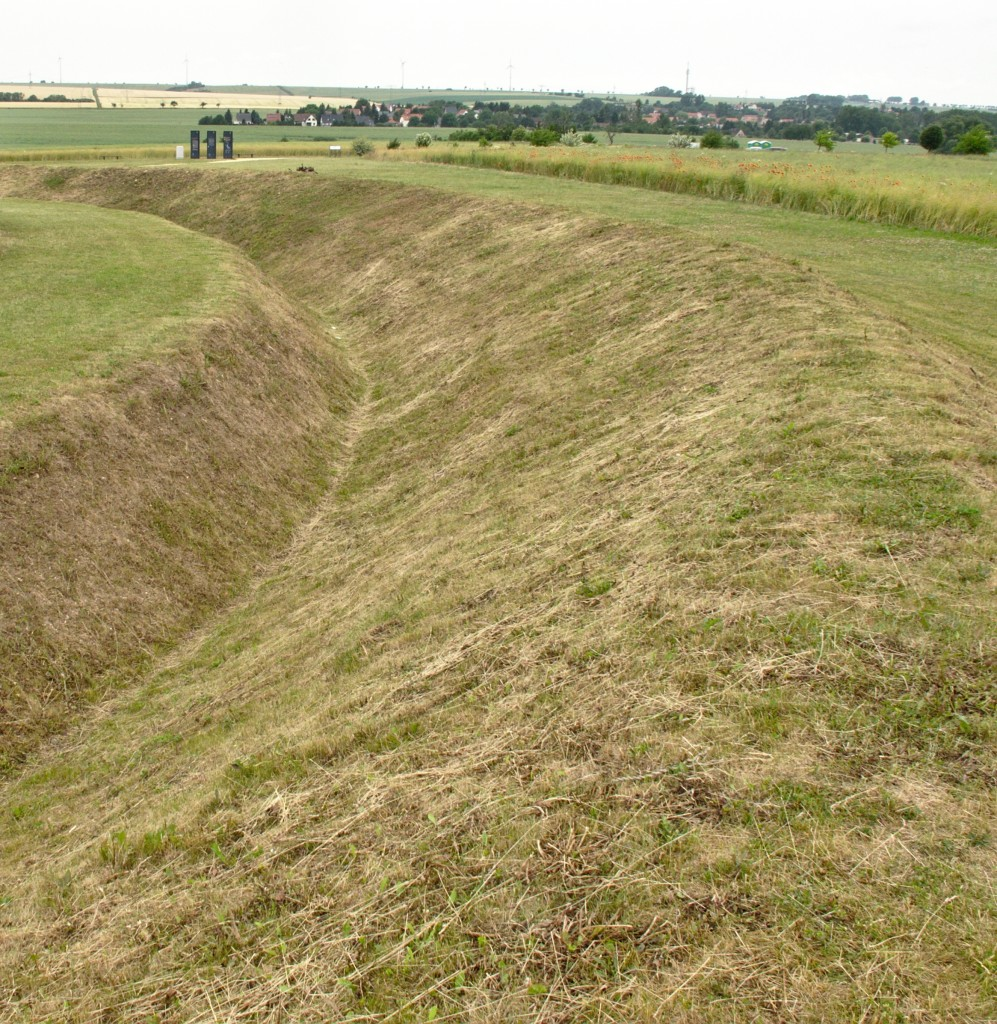 Photo of a ditch at the reconstructed Neolithic Circular Enclosure at Goseck (Saxony-Anhalt, Germany). Neolithic ditches like these were al essential component of Central European enclosures like this one.