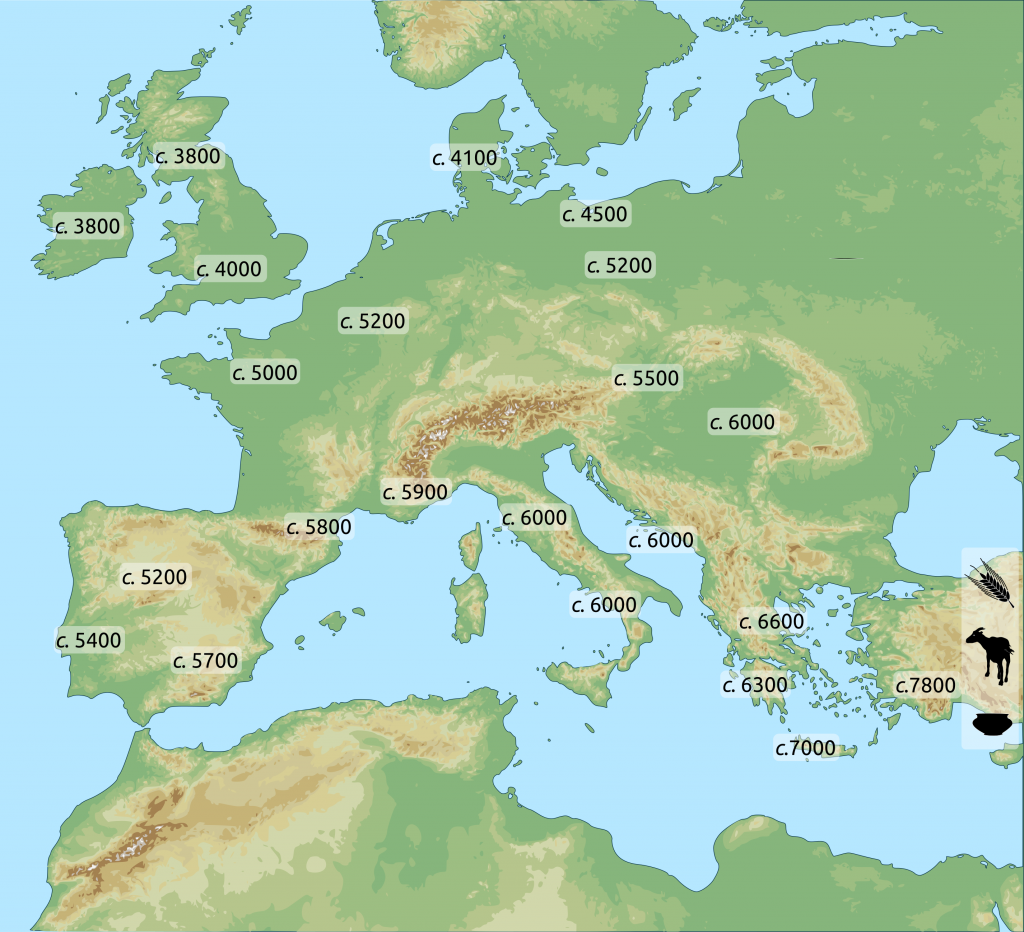 Map with dates of the expansion into Europe of Neolithic things and practices from Western Asia. All dates are expressed in years Before the Common Era (BCE).
