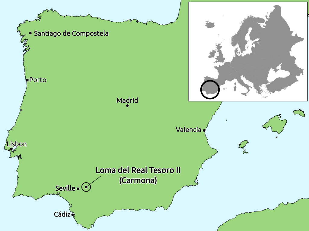Map with location of the Copper Age Ditched Enclosure at La Loma del Real Tesoro, near Carmona, Spain.