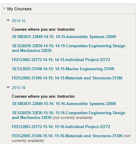 Example My Courses box