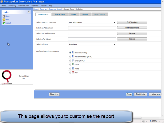 Customise report