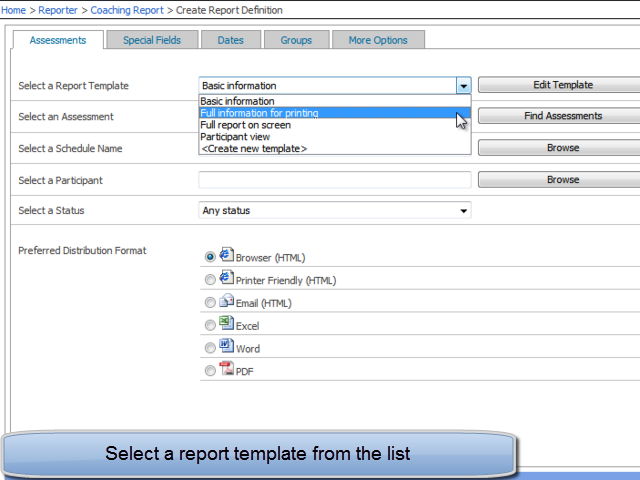 Select report template