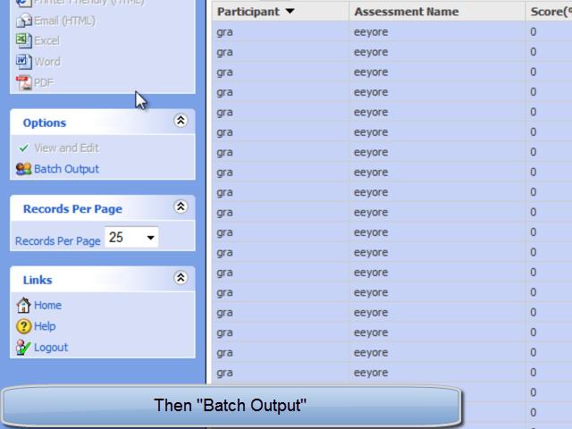 Batch output