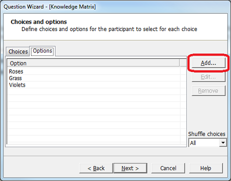 Adding Options to a Knowledge Matrix item