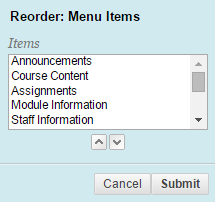 Moving blackboard menu and content items elearning for Moving items into place