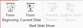 PowerPoint buttons for starting. From beginning and From current slide are clickable