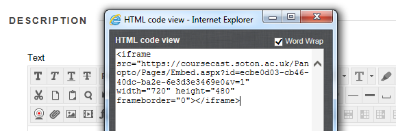 The HTML code view with the code copied from Panopto