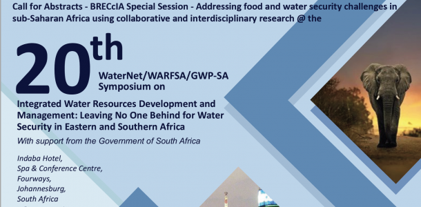 Call for Abstracts: BRECcIA Special Session @ WaterNet 20th Symposium