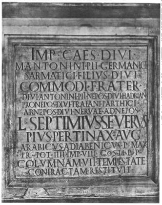 Inscription on the base of a column founded in Portus (Trajanic Port) © Nutzung der Graphik nur für wissenschaftliche Zwecke erlaubt