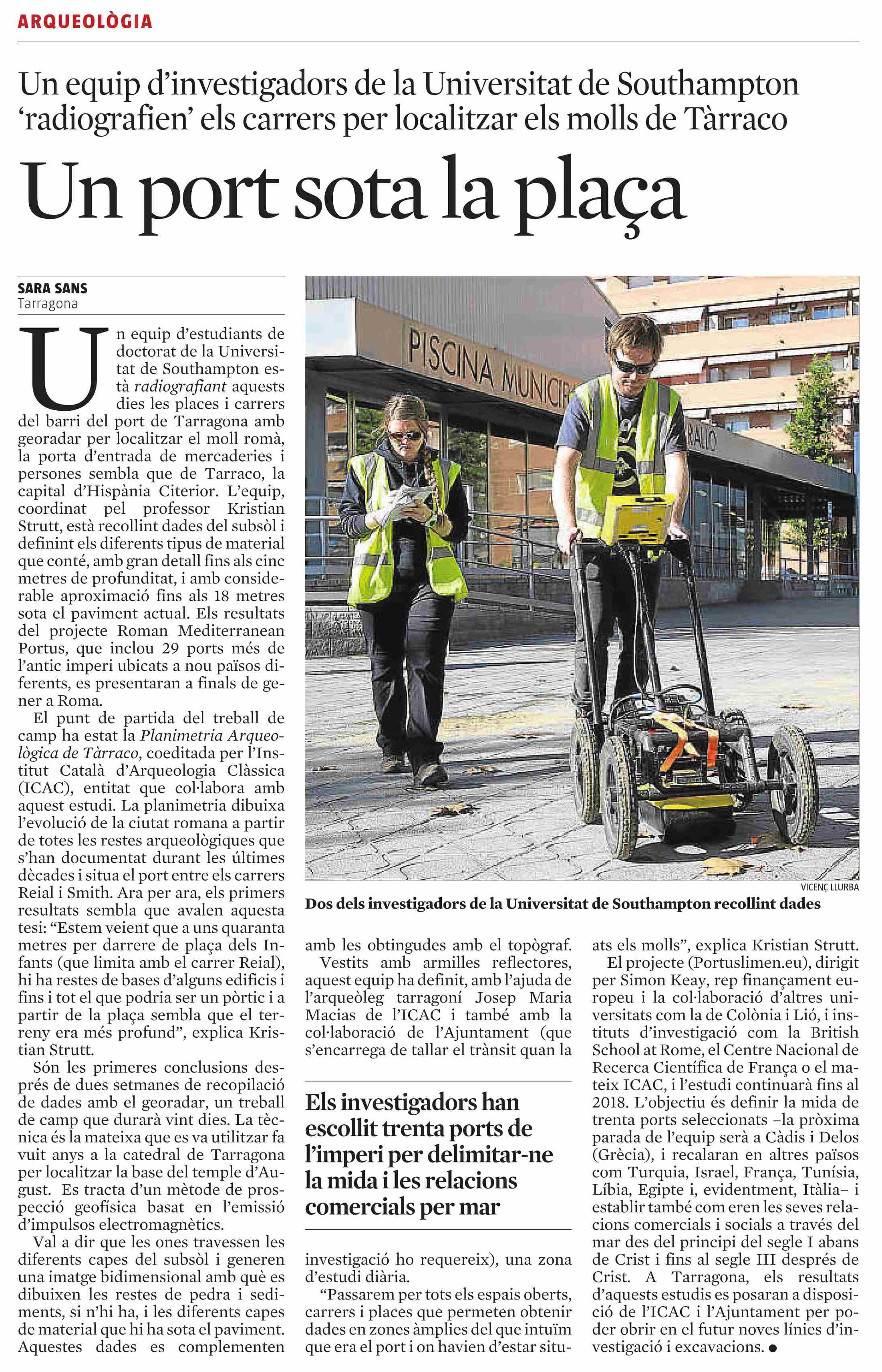 Paper published in La Vanguardia the 11th of november