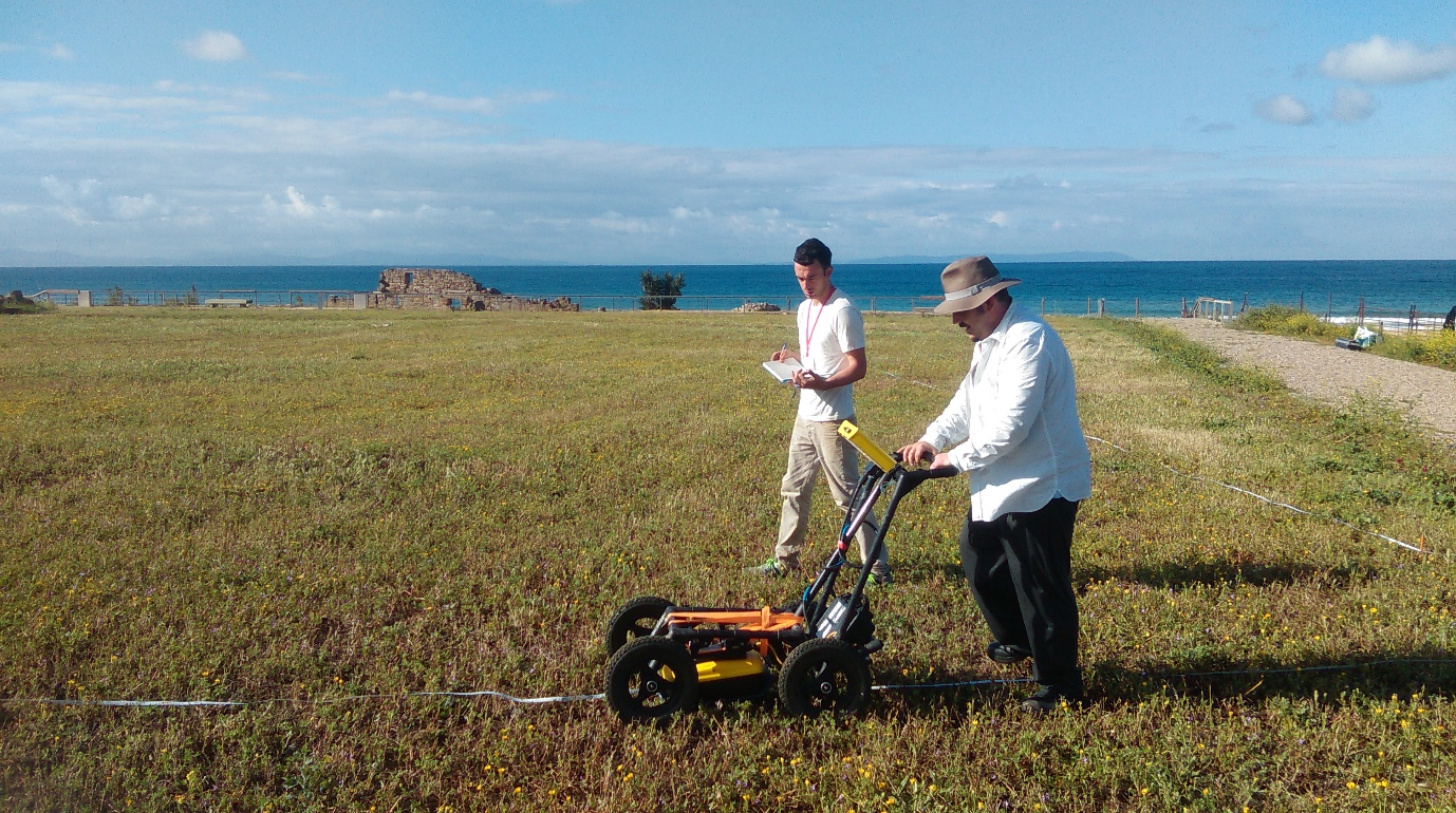 GPR survey being undertaken using a Sensors and Software Noggin Plus with Smartcart and 500 MHz antenna (photo: K. Strutt)