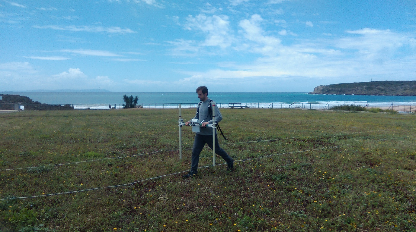 Magnetometer survey under way using a Bartington Instruments Grad 601-2 (photo: K. Strutt)