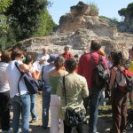 Simon Keay leads a visit to the excavations by local amateurs (Photo: Portus Project)