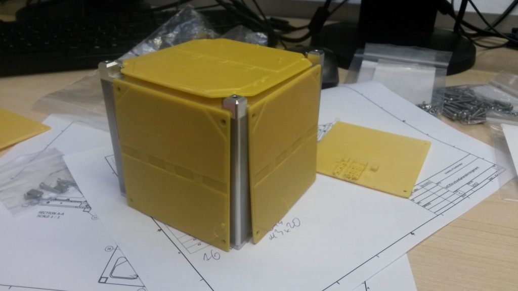 CubeSat with 3D printed dummy solar panels