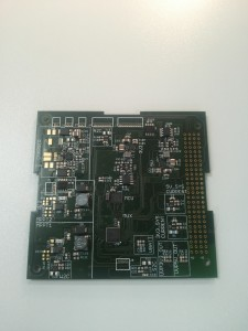 This printed circuit board (PCB) houses components that make sure we get as much energy from the solar panels as possible. It also enables us to draw power from a battery when the satellite is flying through Earth's shadow. And lots more functions that are too many to list!