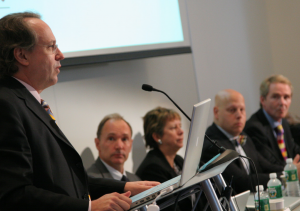 Professor Rodney Brooks welcomes the press at the initial launch of the Web Science Research Initiative at MIT in 2006, with Tim Berners-Lee, Wendy Hall, Daniel Weitzner and Nigel Shadbolt.