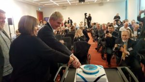 Professor Dame Wendy Hall and Professor Sir Nigel Shadbolt cut the WebScience@10 cake in front of an audience celebrating 10 years of Web Science.