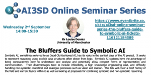 Read more about the article 02/09/2020 – AI3SD Online Seminar Series: The Bluffers Guide to Symbolic AI – Dr Louise Dennis
