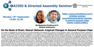 14/09/2020 – AI3SD Online Seminar Series: On the Basis of Brain: Neural–Network–Inspired Changes in General Purpose Chips – Ms Ekaterina Prytkova & Dr Simone Vannuccini