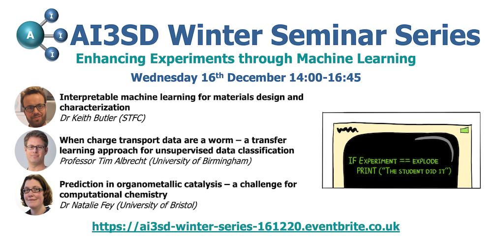 16/12/2020 – AI3SD Winter Seminar Series: Enhancing Experiments through Machine Learning