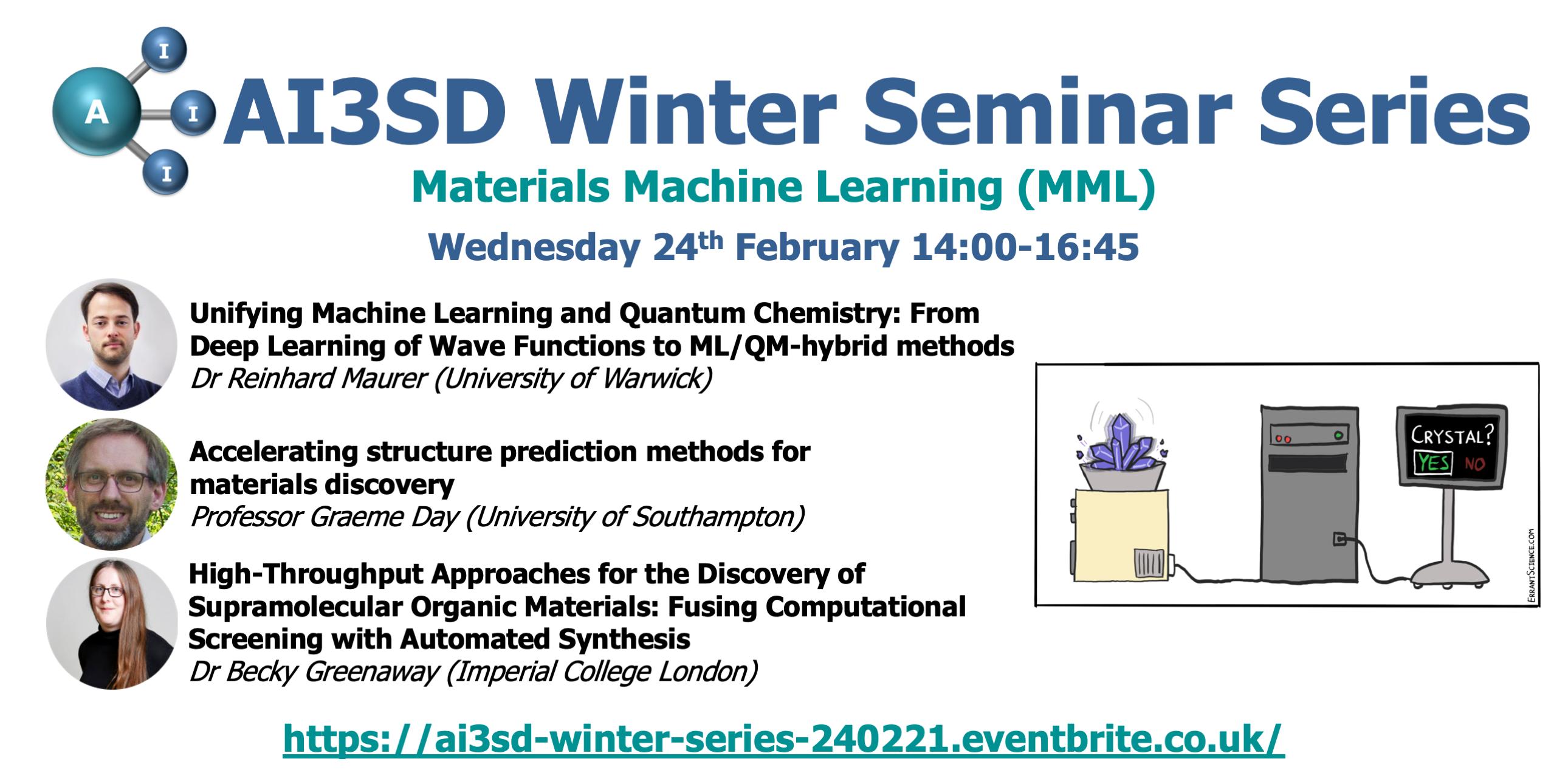 24/02/2021 – AI3SD Winter Seminar Series: Materials Machine Learning (MML)