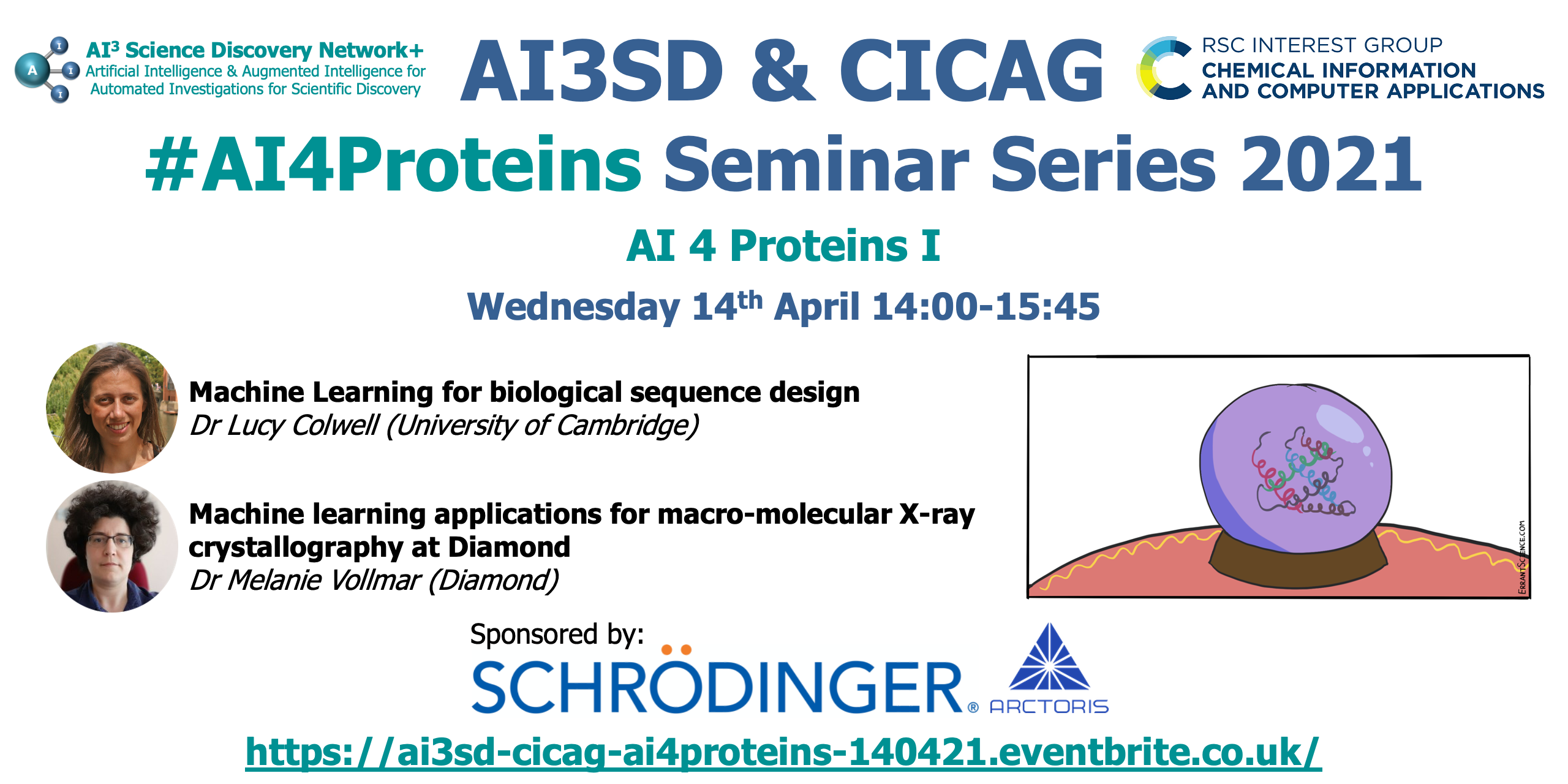 Read more about the article 14/04/2021 – AI3SD Winter Seminar Series: AI 4 Proteins