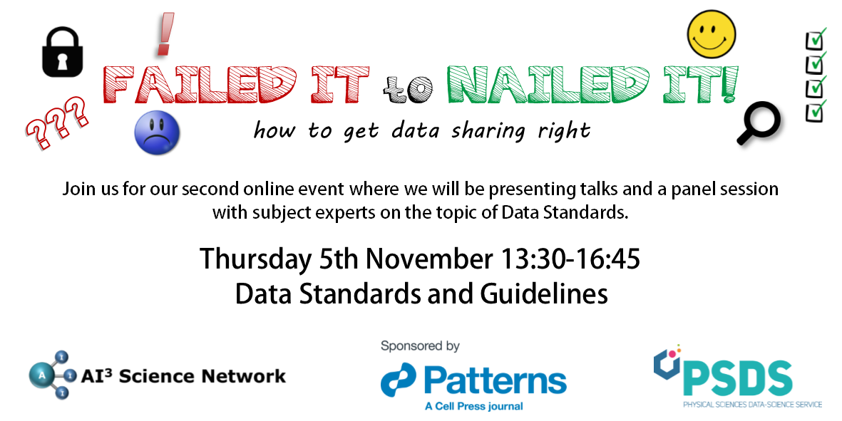 05/11/2020 – Failed it to Nailed it! How to get data sharing right! – Data Standards and Guidelines