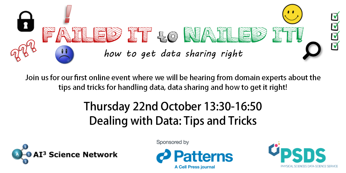 22/10/2020 – Failed it to Nailed it! How to get data sharing right! – Dealing with Data: Tips & Tricks