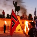 """Members of the neo-nazi """"Golden Dawn"""" at the site of the Thermopylai"""