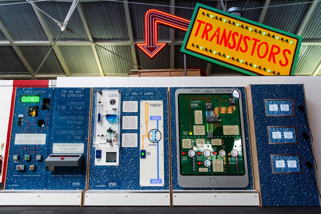 Our giant water transistor at Winchester Science Centre shows how current flows in a transistor using water