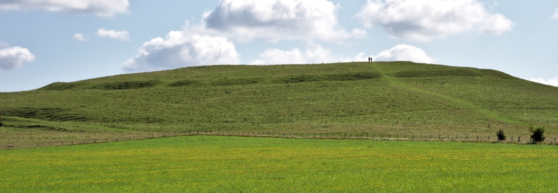 Photo of banks at Knap Hill Neolithic causewayed enclosure from the NW