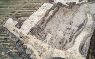 Aerial view (drone) of the excavations at the Neolithic Palisaded Enclosure near Frederikssund, Denmark.